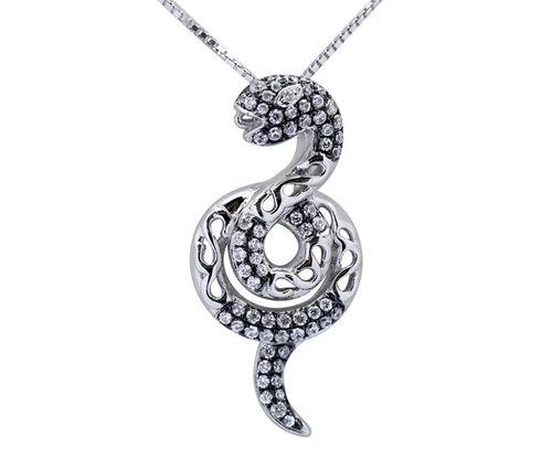 Silver Pendant in Snake Design 925 SS, 18in Silver Chain, 18k WG Overlay