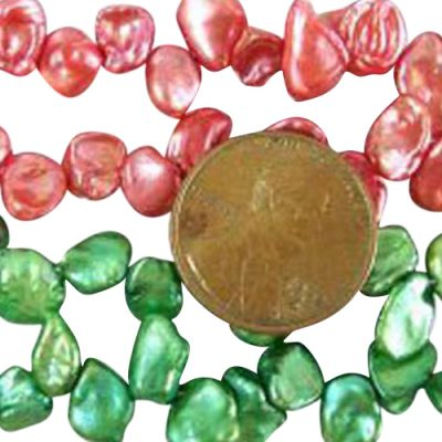 Red and Lime Green 5-7mm Keshi Seed Pearl Strand