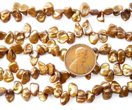 Brown 5-7mm Keshi Seed Pearl String