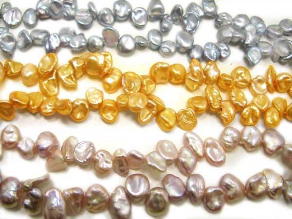 Grey, Gold and Light Purple 5-7mm Keshi Seed Pearl Strand