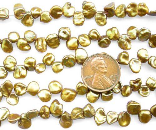 Dark Gold 5-7mm Keshi Seed Pearl Strand