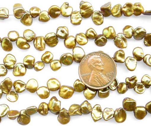 Dark Gold 5-7mm Keshi Seed Pearl Strand
