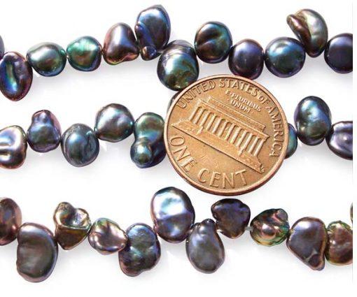 Black 5-7mm Keshi Seed Pearl Strand