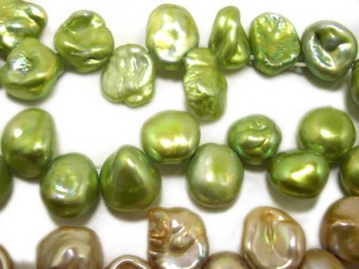Green Chunky Keshi Pearls on Temporary Strand