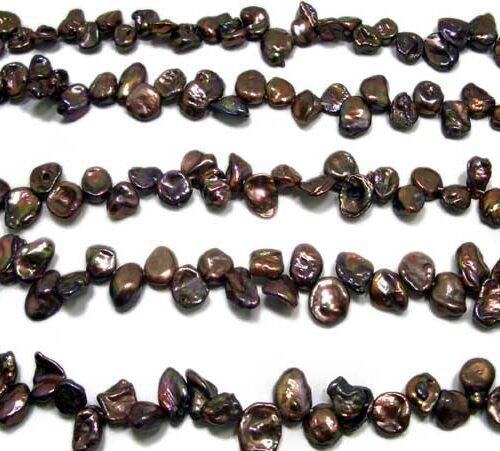 Chocolate Brown Keshi Pearls on Temporary String
