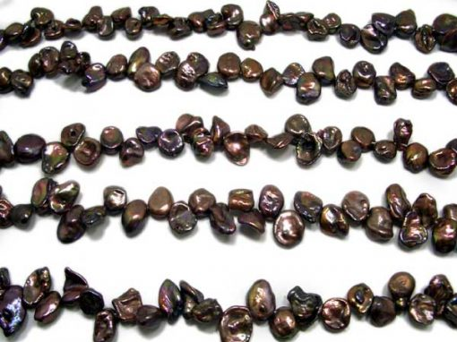 Chocolate Brown Keshi Pearls on Temporary String
