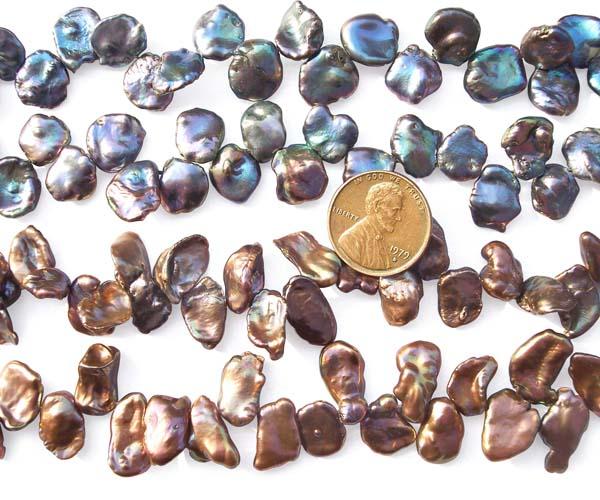 Black or Chocolate 10-12mm Keshi Pearl Strand