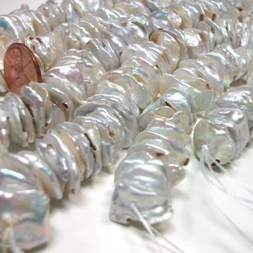 Center Drilled 10-13mm Large Keshi Pearl Strand, Silver White