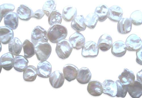 Large Thin 12-13mm White Keshi Pearl Strand