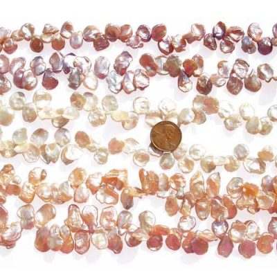Mauve, White and Pink 11-12mm thin Keshi Pearl Strands