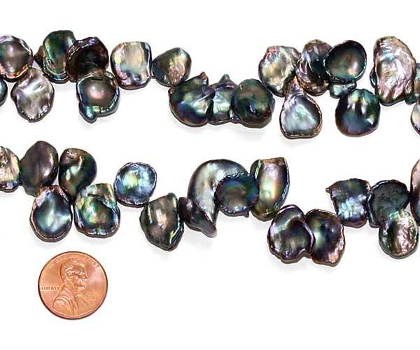 Black 12-13mm Keshi Pearl Strand