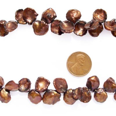 Chocolate 12-13mm Keshi Pearl Strand