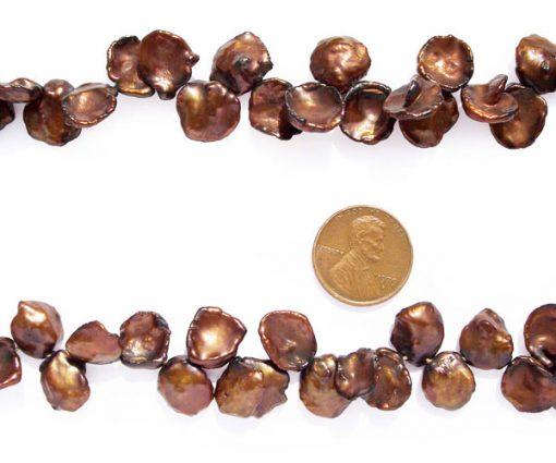 Chocolate 12-13mm Keshi Pearl Strand