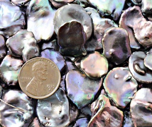 Large 16-17mm Black Keshi Pearl Strand