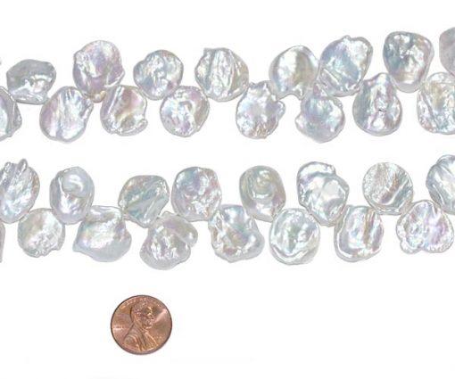 Large 16-17mm White Keshi Pearl Strand