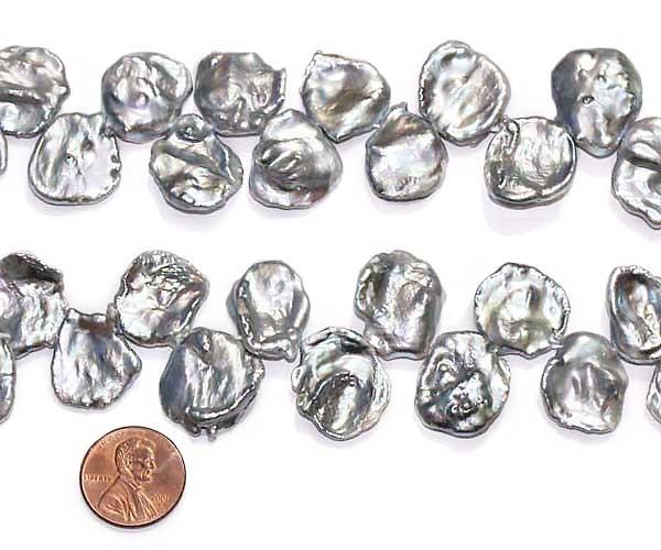 Large 16-17mm Grey Keshi Pearl Strand