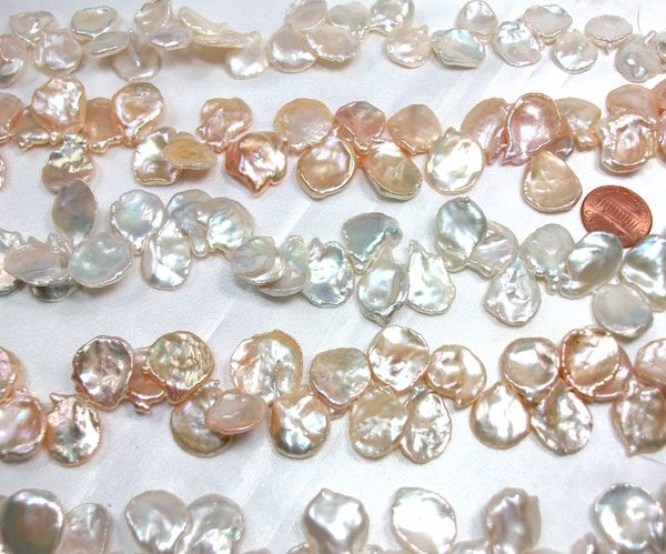 White and Pink Ulta Thin and Large Keshi Pearl Strands 17-19mm