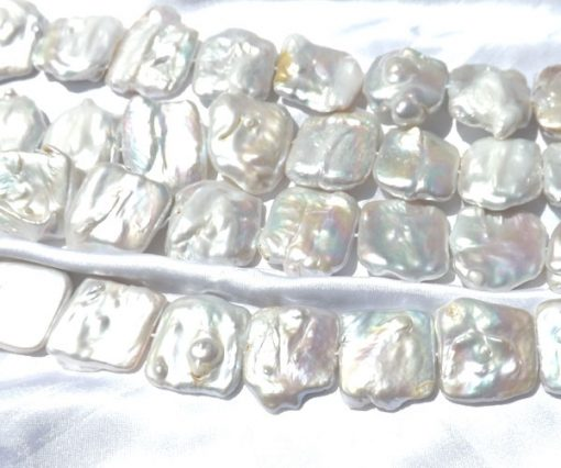 White Square 25x30mm Large Keshi Pearls