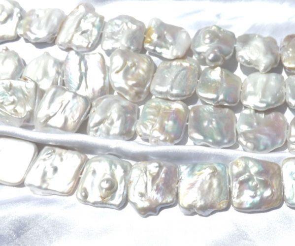 White Square 25x30mm Large Keshi Pearls