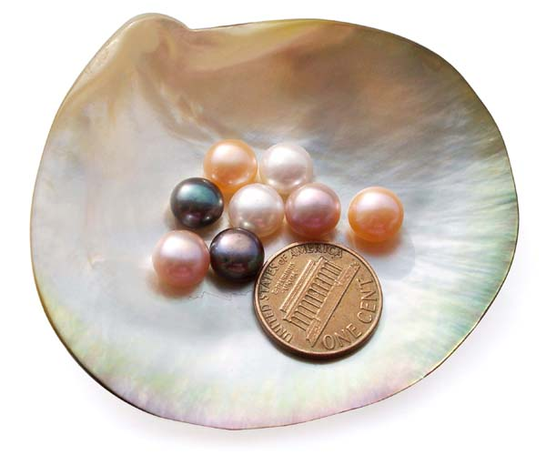 White, Pink, Pale Pink, Mauve, Lavender and Black 8-9mm AAA Quality Button Pearl, Half Drilled