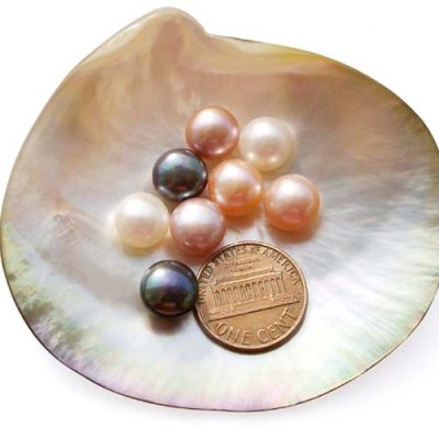 White, Pink, Mauve and Black 9-10mm AAA Quality Button Pearl