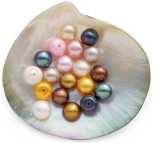 White, Pink, Mauve, Black, Chocolate, Gold, Light Pink and Dark Gold 9-10mm Half-Drilled AA Button Pearls