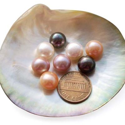 White, Pink, Mauve and Black 10-11mm AAA Quality Button Pearl