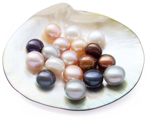 Black, White, Pink and Chocolate 10-11mm AA Quality Button Pearl, Half-Drilled