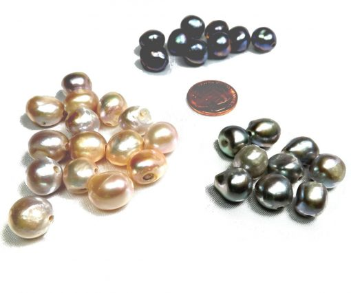 Black, Lavender and Gray Colored Single Baroque Pearl 2mm Hole