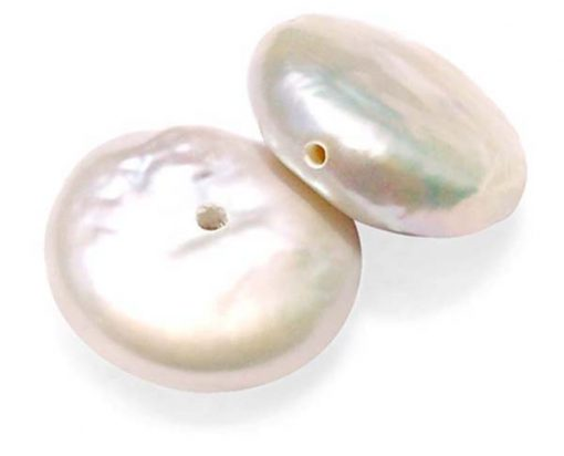 White 12-13mm Loose AAA Coin Pearl, Center Half-drilled, Side Half-drilled or Undrilled