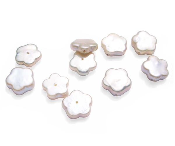 White Flower Shaped Coin Pearl, Undrilled or Half-drilled
