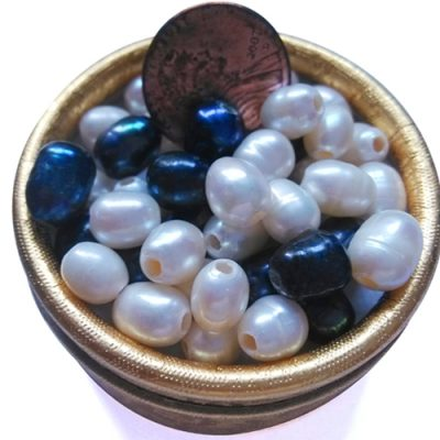 White and Black 6.5-7.5mm AA Drop Pearls, Larger Holes
