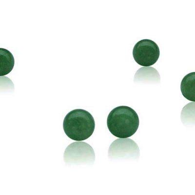 Green 8mm Individual Loose Jade Bead, Half Drilled