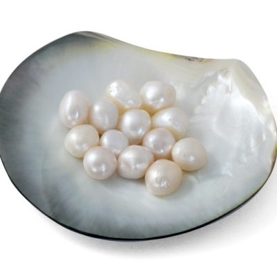 White 12-13mm Untreated Loose Baroque Pearls Sold By Ounce