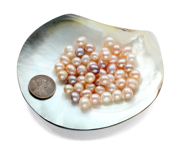 Natural White, Pink and Mauve 7-8mm Untreated Loose Drop Pearls, Sold by Ounce
