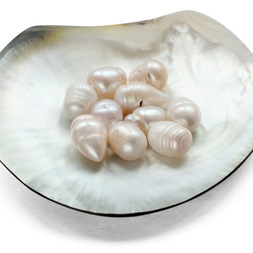 12-13mm Untreated Loose Drop Pearls with Natural Dents, Sold by Ounce