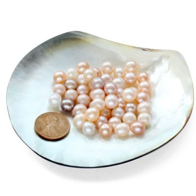 Pink, White and Mauve 7-8mm Untreated Loose Potato Pearls, Sold by Ounce
