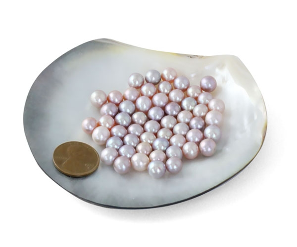 Mauve 7-8mm AA+ Loose Round Pearls Sold by Ounce
