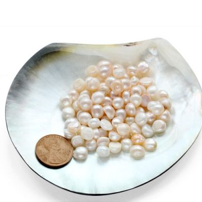 5-6mm Untreated Loose Button Pearl, Sold by Ounce