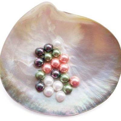 Peacock Black, Peacock Green, Pale Pink and White 6mm Round AAAA SSS Pearls, Half Drilled
