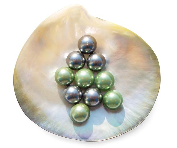 Peacock Green and Tahitian Grey 10mm Round AAAA SSS Pearl, Half Drilled