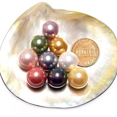 Cranberry, White, Peacock Black, Gold, Champagne, Grey, Peacock Green, Rose Pink, Pale Pink, Mauve, Chocolate, and Tahitian Black 12mm Round AAAA SSS Pearl, Half Drilled