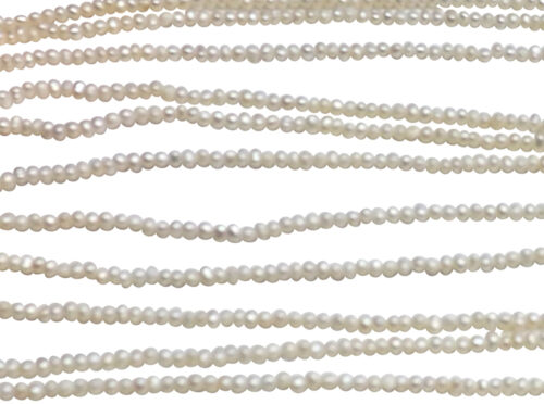 2-3mm white button pearls strands