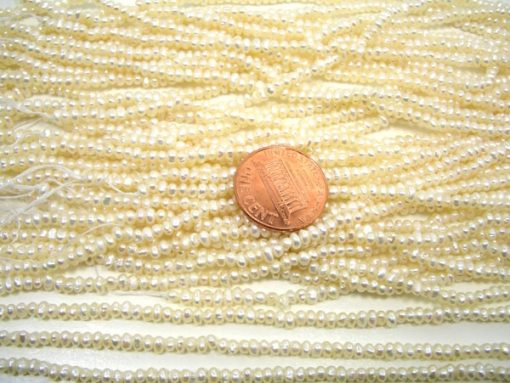 2-3mm White Tiny Button Seed Pearl Strand