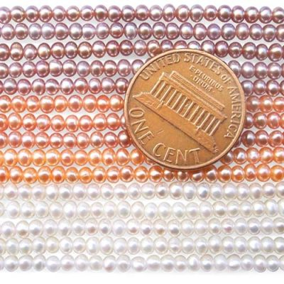 2-3mm White, Pink and Lavender Button Pearl Strand