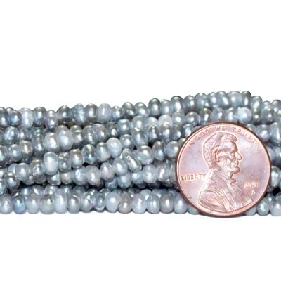 Grey 3-4mm AA Quality Button Pearl Strand