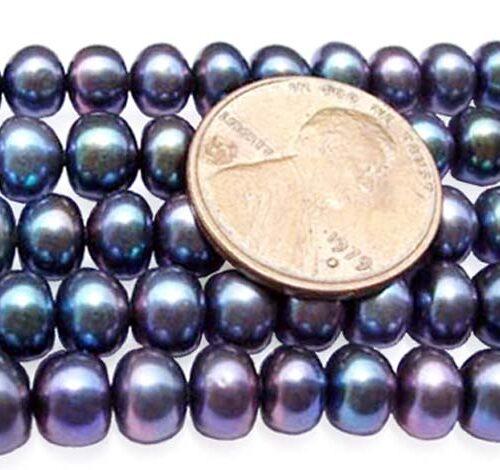 Black 6-7mm Button Pearl Strand