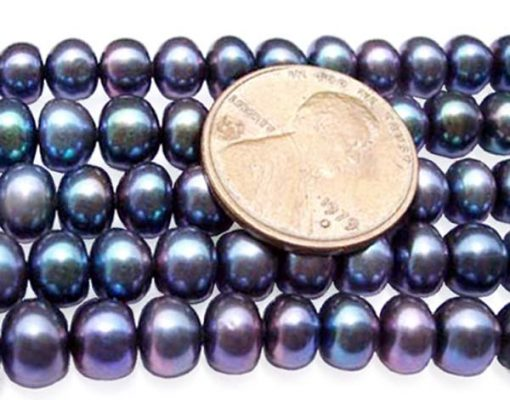 Black 6-7mm Button Pearl Strand