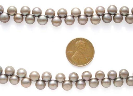 Silver Grey 6-7mm Top Drilled Button Pearl Strand