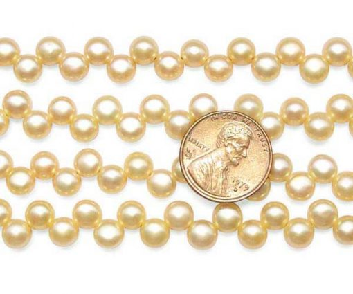 Champagne 6-7mm Top Drilled Button Pearl Strand
